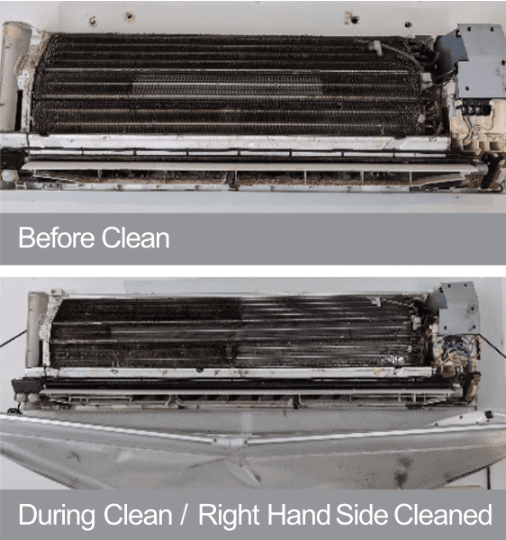 Split system air conditioner cleaning